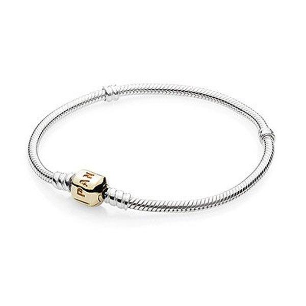 Pandora Sterling Bracelet With 14 Karat Gold Clasp 307 34