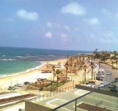 GIVAT ALIYA BEACH in Jaffa is seen from the balcony of the Peres Center for Peace