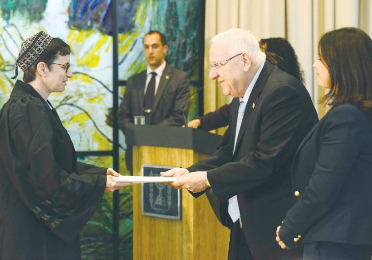 PRESIDENT REUVEN RIVLIN officiates at the swearing-in of 21 newly appointed judges
