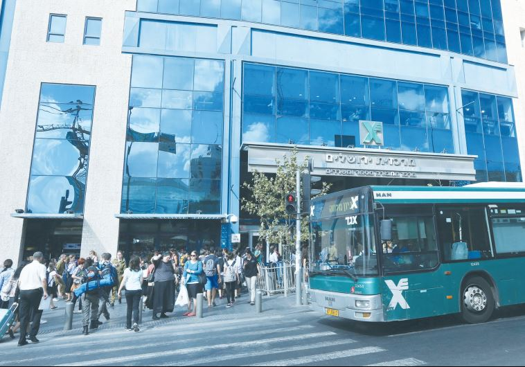 AN EGGED BUS pulls up in front of the Jerusalem Central Bus Station