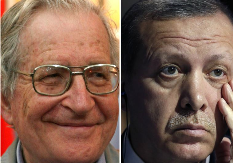 US academic Noam Chomsky (L) and Turkish President Recep Tayyip Erdogan
