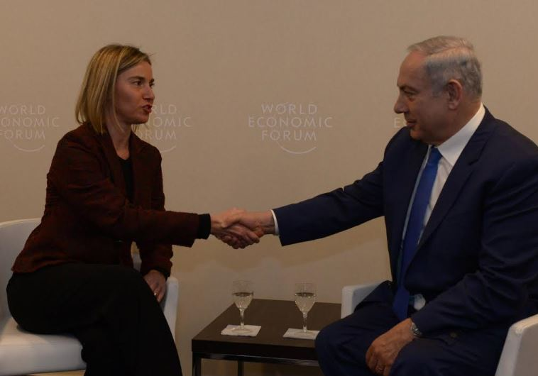 European Union foreign policy chief Federica Mogherini with Prime Minister Benjamin Netanyahu in Da