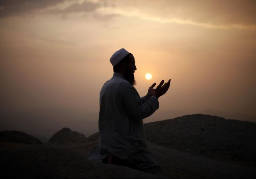A Muslim pilgrim prays atop Mount Thor in the holy city of Mecca ahead of the annual haj pilgrimage