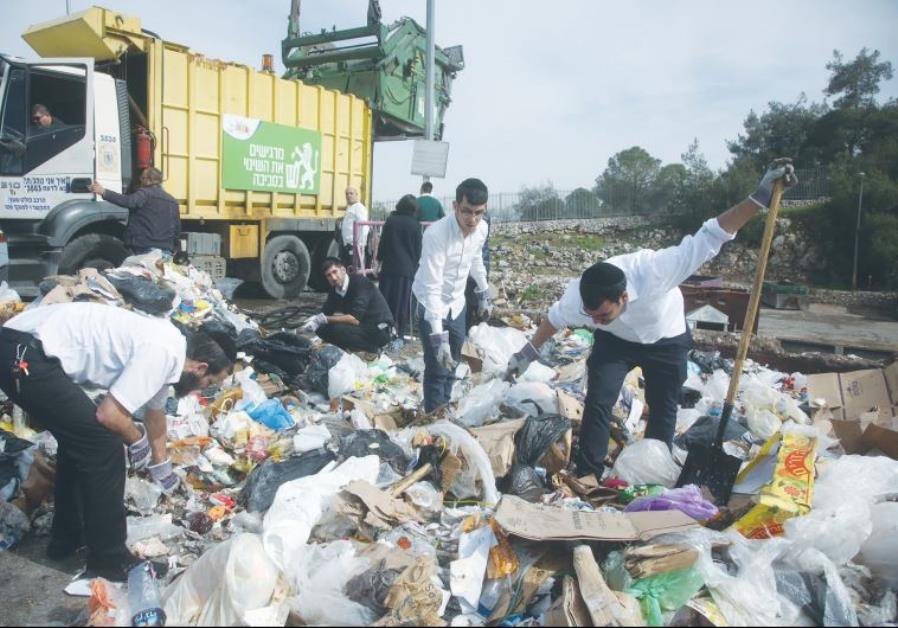 VOLUNTEERS WADE through mounds of garbage in the capital