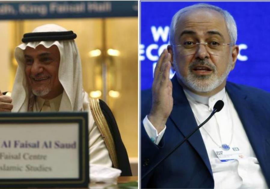 Saudi Prince Turki al-Faisal and Iranian Foreign Minister Javad Zarif
