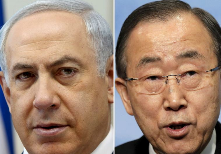 Prime Minister Benjamin Netanyahu (L) and UN Secretary-General Ban Ki-moon