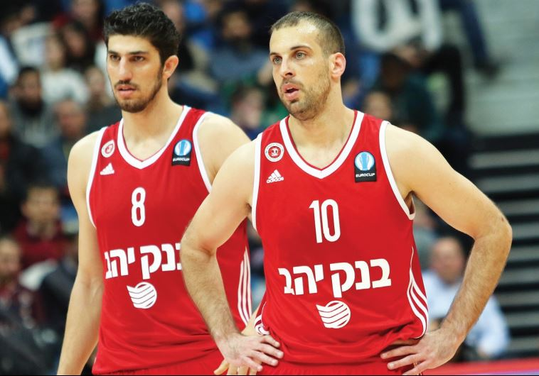 Hapoel Jerusalem guard Yotam Halperin (right) and forward Lior Eliyahu