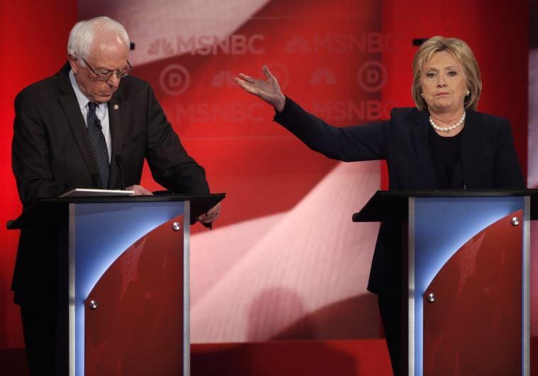 Hillary Clinton (R) and Bernie Sanders