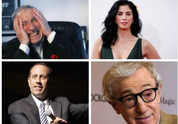 Jewish comedians: Mel Brooks (top left), Jerry Seinfeld (bottom left), Sarah Silverman (top right),