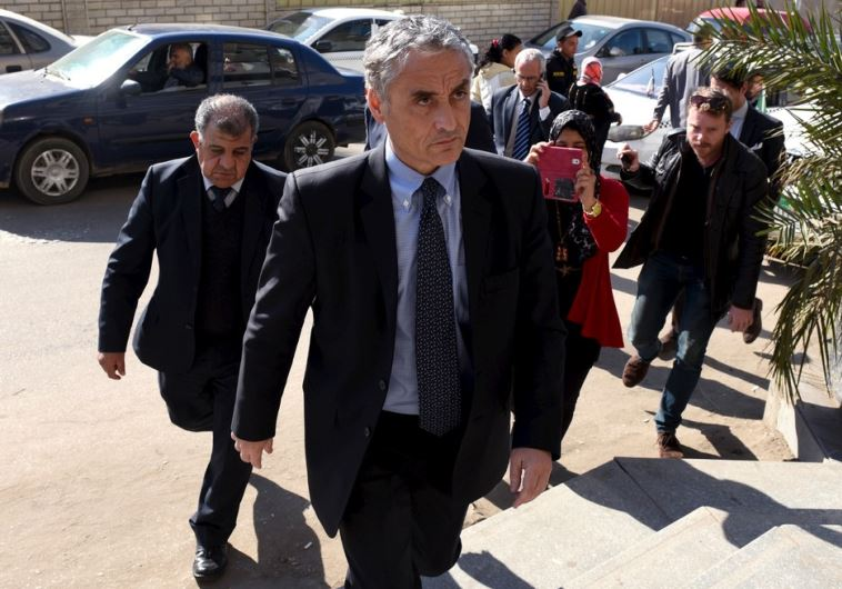 Italian Ambassador to Egypt Maurizio Massari arrives at the morgue in Cairo