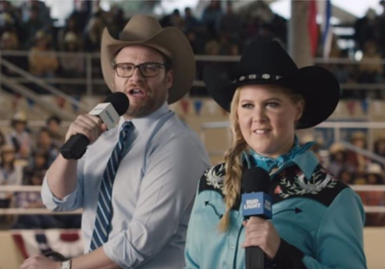 Seth Rogen and Amy Schumer in Super Bowl ad