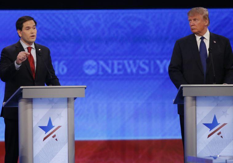 Republican U.S. presidential candidate U.S. Senator Marco Rubio speaks as businessman and rival cand