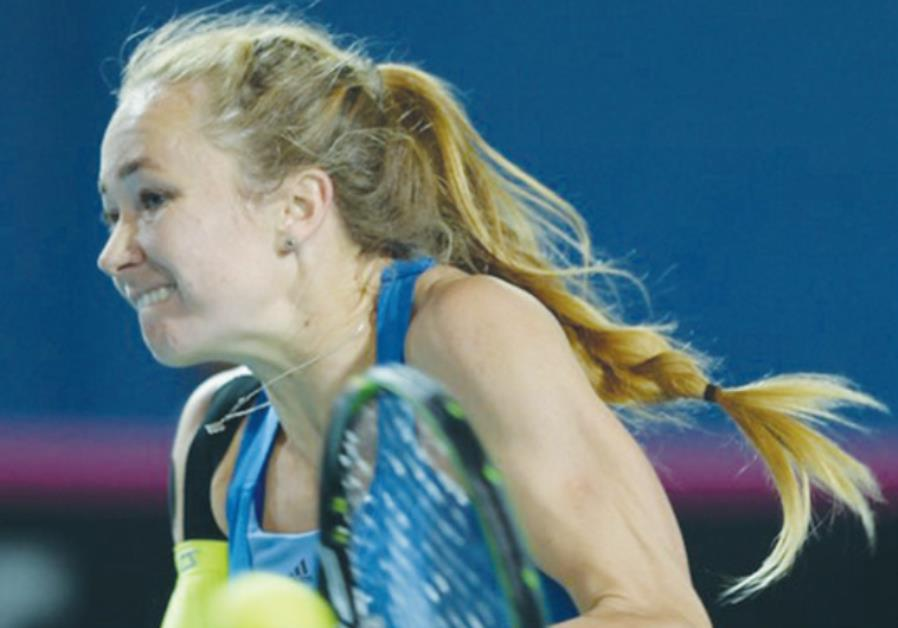 Israel's Julia Glushko suffered a 7-6, 7-6 defeat to Lesia Tsurenko yesterday which sealed the blue-