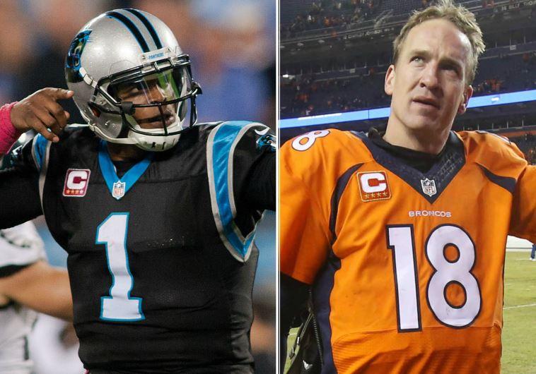 Denver Broncos quarterback Peyton Manning (R) and Carolina Panthers quarterback Cam Newton