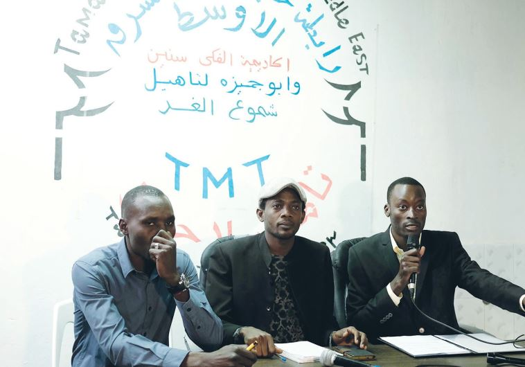 REPRESENTATIVES OF the Sudanese community speak to reporters in south Tel Aviv yesterday.