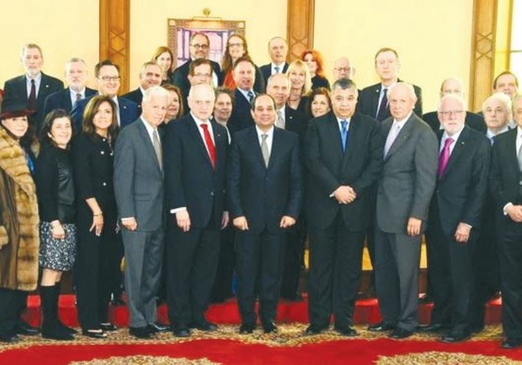 LEADERS OF THE Conference of Presidents of Major American Jewish Organizations pose with Egypt's Pre