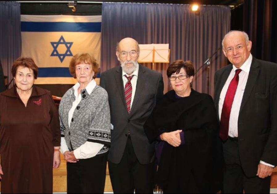 AT THE commemoration ceremony are, from left, Aachen Mayor Marcel Philipp, survivors Evelina Merowa