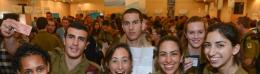 HAPPY LONE SOLDIERS at Thursday's 'Yom Siddurim' event sponsored by Nefesh B'Nefesh and Friends of t