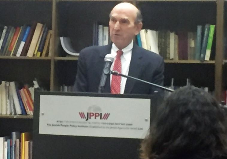 ELLIOTT ABRAMS speaks at the JPPI Institute in Jerusalem on Monday.