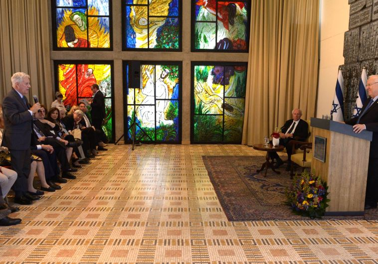 President Reuven Rivlin speaks with the Conference of Presidents of Major American Jewish Organizati