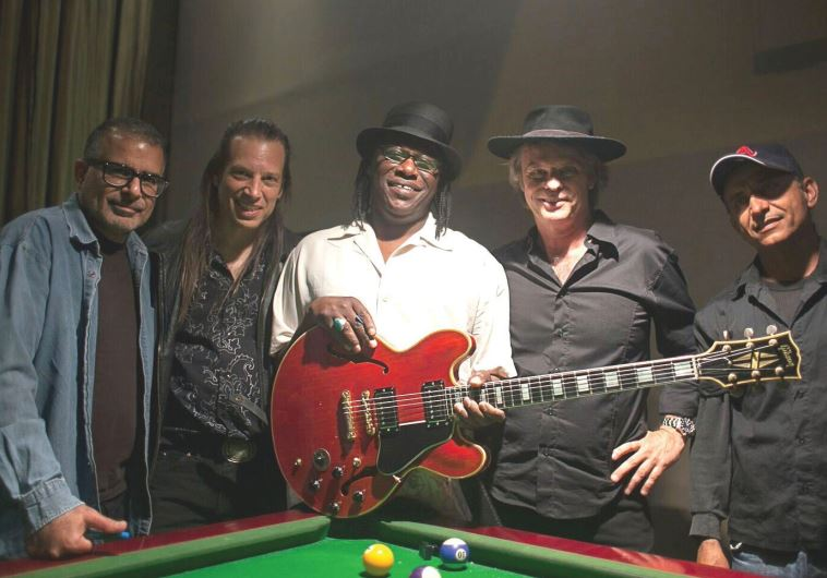 AMERICAN BLUES guitarist Joe Louis Walker (center) with Tel Aviv-based Blues Rebels