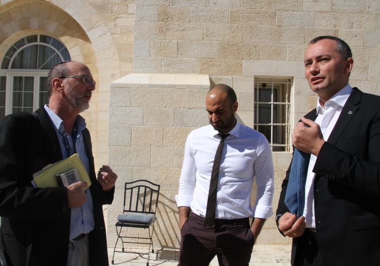 Herb Kenion,  UN public information officer Murad Bakri, and  UN special envoy Nockolay Mladenov