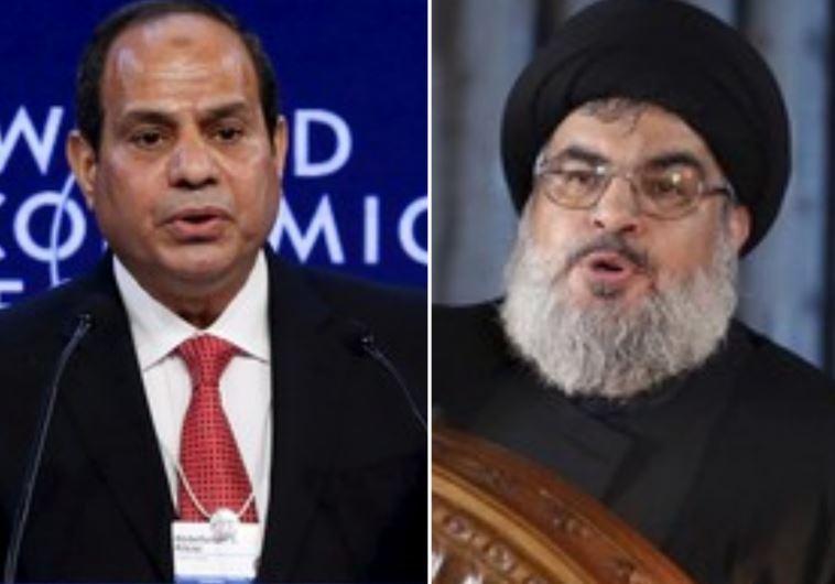Egyptian President Abdel Fattah al-Sisi (R) and Hezbollah leader Hassan Nasrallah