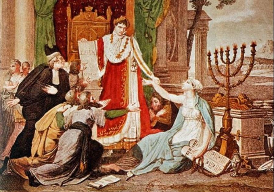 An 1806 French print depicts Napoleon Bonaparte emancipating the Jews