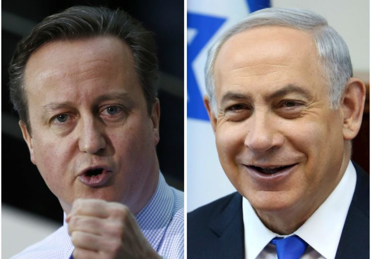 Prime Minister Benjamin Netanyahu (R) and British Prime Minister David Cameron