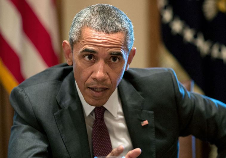US President Barack Obama gestures during a meeting with American Jewish leaders