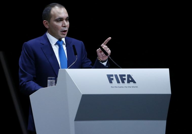 Prince Ali Bin Al Hussein, whose candidacy for FIFA president fell short, makes a speech