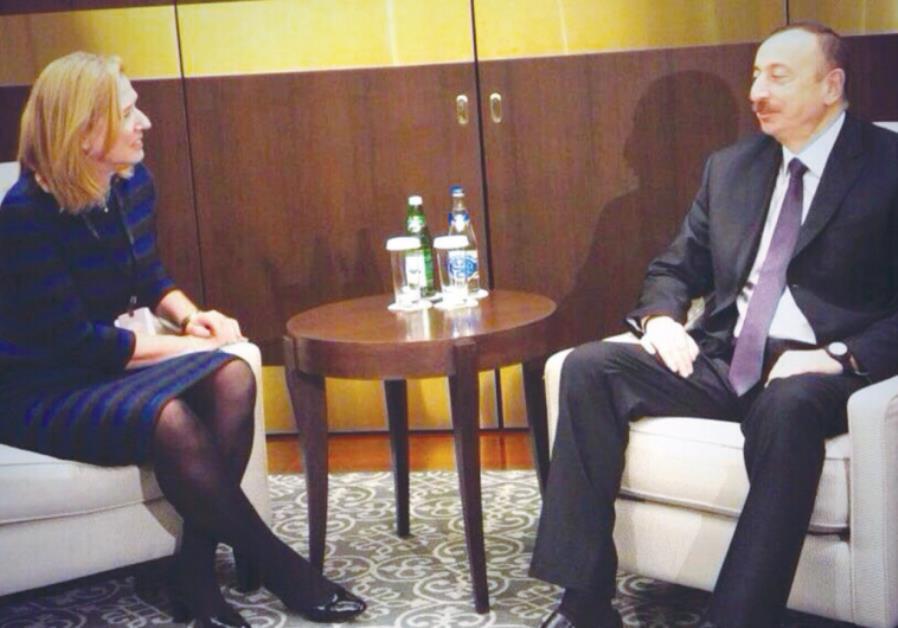 MK TZIPI LIVNI sits with Azeri President Ilham Aliyev at the Global Baku Forum in Azerbaijan two day