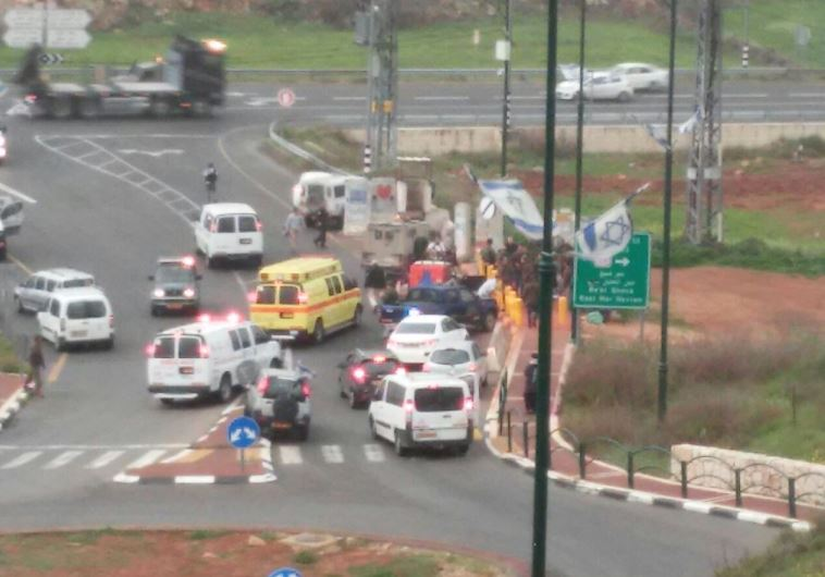 The scene of the attempted attack near the West Bank settlement of Kiryat Arba