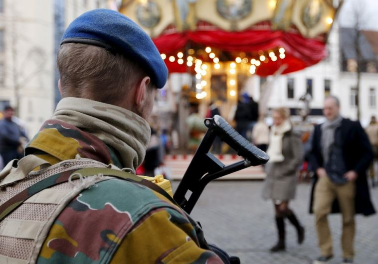 A Belgian soldier patrols the streets of Brussels