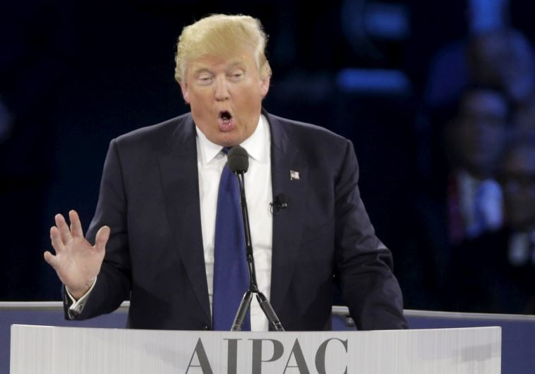 Republican US presidential candidate Donald Trump addresses AIPAC in Washington