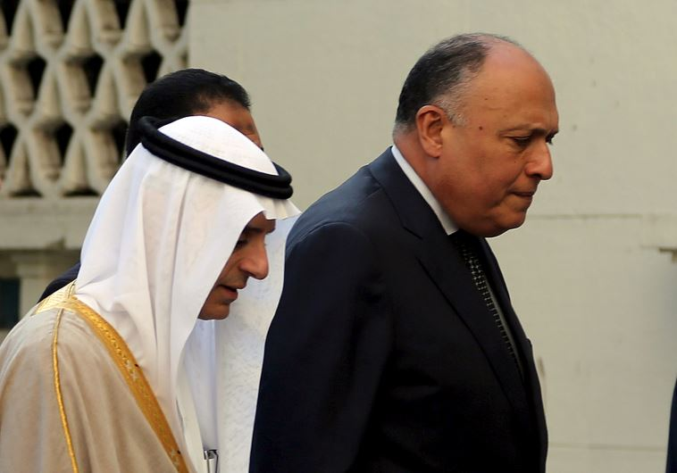 Saudi Foreign Minister Adel al-Jubeir and Egypt's Foreign Minister Sameh Shoukry