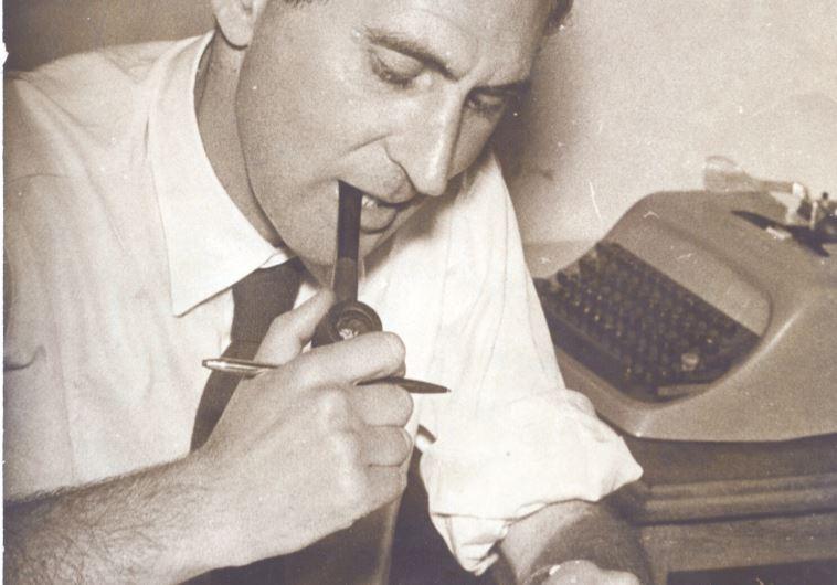 JOE BLUMBERG at his desk at 'Drum' magazine, Johannesburg.
