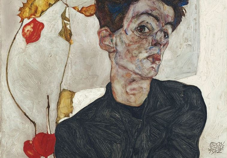 Egon Schiele painting from 1912 titled Self-Portrait with Physalis
