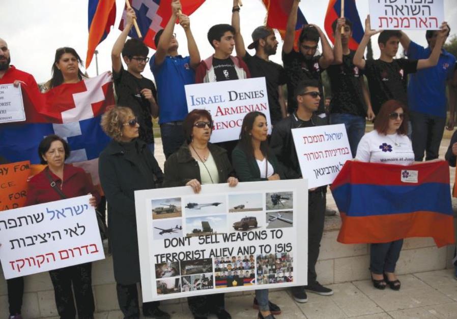 MEMBERS OF Israel's Armenian community protest against the selling of Israeli weapons to Azerbaijan