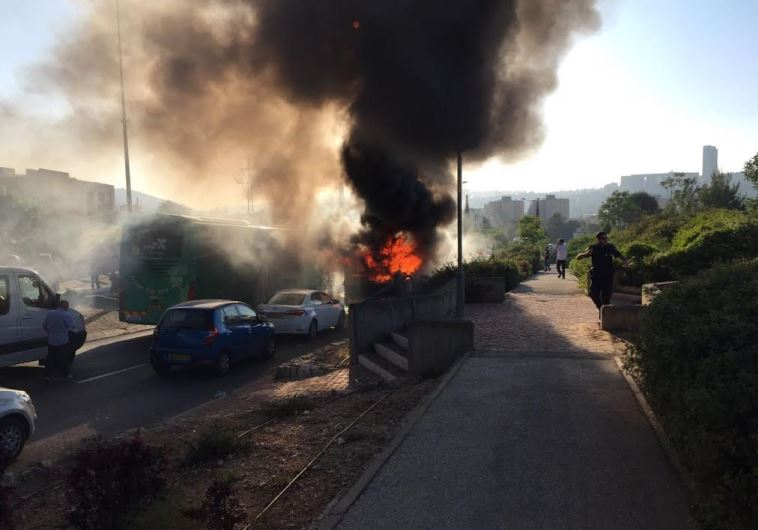 Photo of scene of possible bus explosion in Jerusalem, April 18, 2016