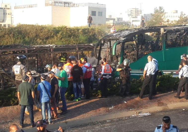 Scene of exploded bus in Jerusalem, April 18, 2016