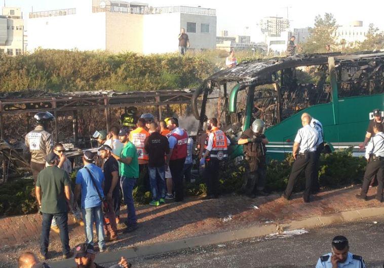 Scene of exploded bus in Jerusalem, April 18, 2016