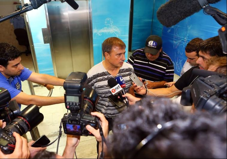 Elisha Levy meets members of the media