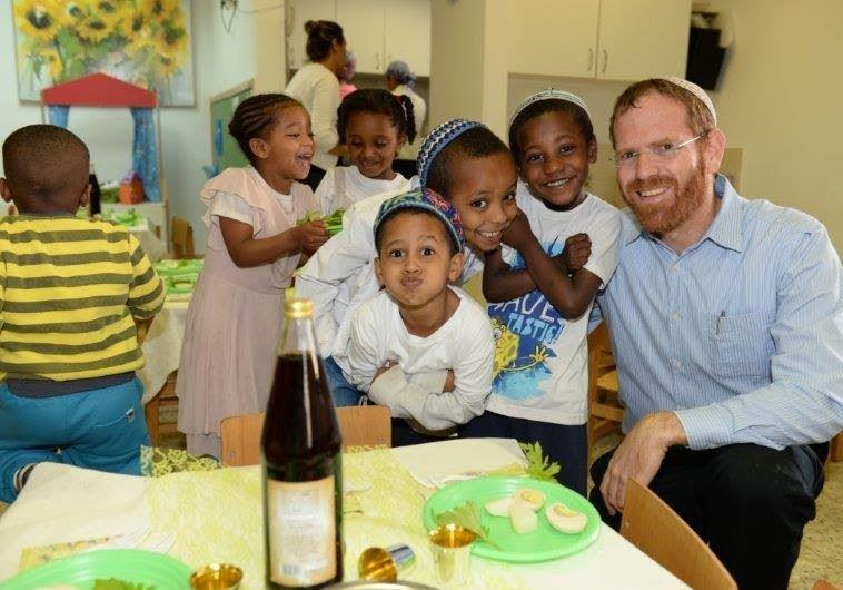 Young Ethiopian Jews prepare for Passover Seder