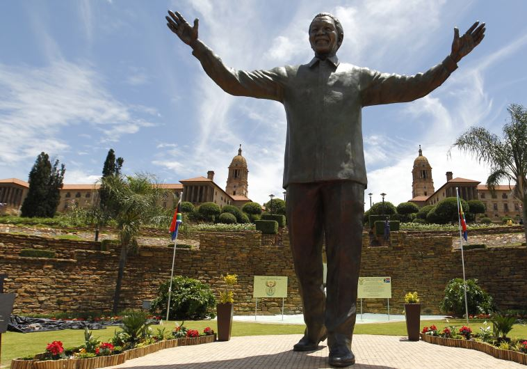 A bronze statue of the late former South African President Nelson Mandela, Pretoria