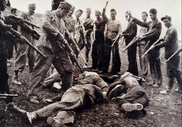 Victims of the Nazi-backed Ustasha regime killed at the end of the World War Two lay on the ground