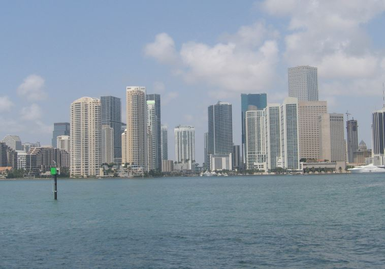 THE MIAMI skyline as seen from Biscayne Bay