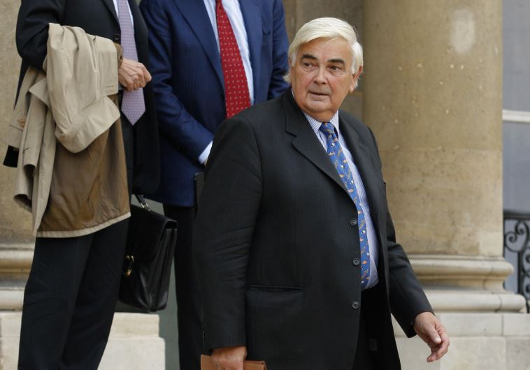 Credit Mutuel's Director General Michel Lucas, leave the Elysee Palace after a meeting with France's