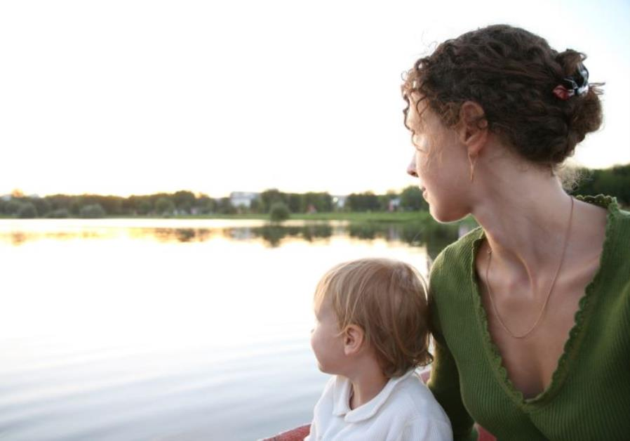 Mother and child at the lake
