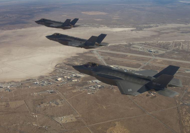 Three F-35 Joint Strike Fighters (rear to front) AF-2, AF-3 and AF-4